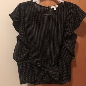Black poke a dot, short sleeve top